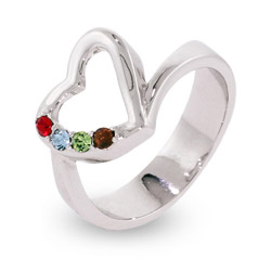 4 Stone Sterling Silver Austrian Crystal Mothers Heart Ring