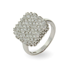 Shimmering Cushion Cut Pave CZ Right Hand Ring