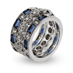 Tiffany Inspired Exquisite Three Band Sapphire CZ Stackable Ring Set