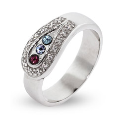 3 Stone Custom Birthstone Austrian Crystal Spoon Ring