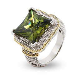 Designer Inspired Sparkling Cushion Cut Olive CZ Cable Ring