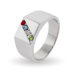 4 Stone Men's Custom Family Birthstone Austrian Crystal Ring