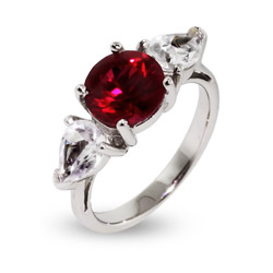 Jessica Simpson Replica Ruby CZ Engagement Ring