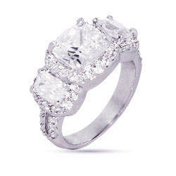 Dazzling Cushion Cut Past Present Future CZ Engagement Ring