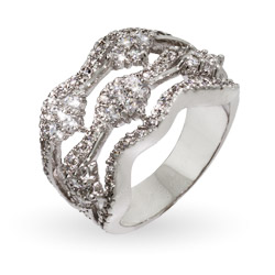 Elegant Silver Wave 5 Row Right Hand Ring
