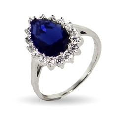 Princess Diana Inspired Pear Cut Sapphire CZ Engagement Ring