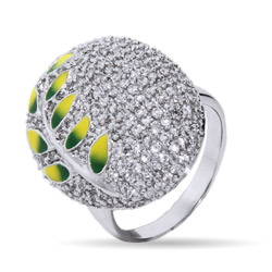Designer Inspired Sparkling Pave CZ Nature Leaf Cocktail Ring