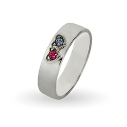 2 Stone Engravable Sterling Silver Custom Birthstone Couples Ring