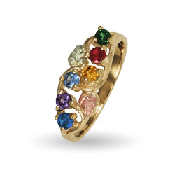10K Black Hills Gold 6 Stone Family Birthstone Ring