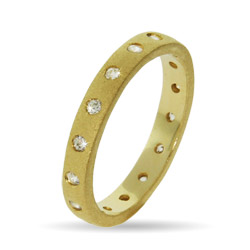 Tiffany Inspired Gold Vermeil Bezel Set Stackable Ring