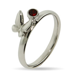 Stackable Reflections Garnet CZ Butterfly Stackable Ring