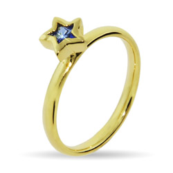 Stackable Reflections Gold Vermeil Blue CZ Star Stackable Ring