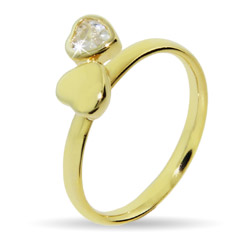 Stackable Reflections Gold Vermeil Joined Hearts Stackable Ring