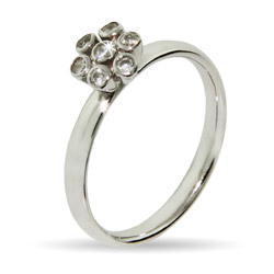 Stackable Reflections Bezel CZ Flower Stackable Ring