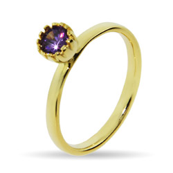Stackable Reflections Gold Vermeil Crown Set Amethyst CZ Stackable Ring