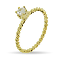 Stackable Reflections Gold Vermeil Solitaire CZ Ring with Twisted Band