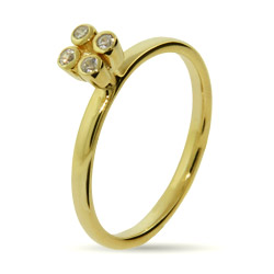 Stackable Reflections Gold Vermeil 4 Stone CZ Stackable Ring
