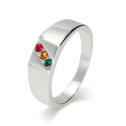 3 Stone Men's Custom Family Birthstone Austrian Crystal Ring