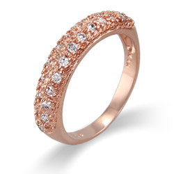 Rose Gold Vermeil Diamond CZ Dome Shaped Ring