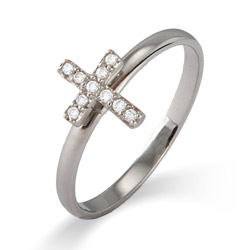 Stackable Reflections CZ Cross Stackable Ring