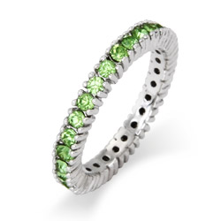 Stackable Reflections Sparkling August Peridot Birthstone Stackable Ring