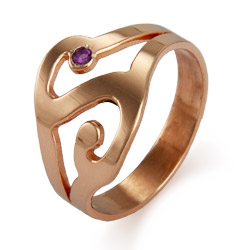 Rose Gold Vermeil Custom Birthstone Initial Ring