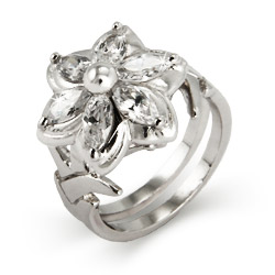Lord of the Rings Inspired Nenya Galadriels Silver CZ Flower Ring
