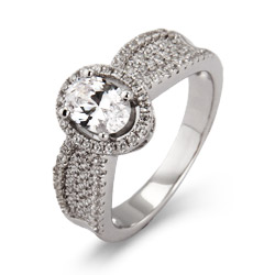 Katherines Stunning Halo Oval Cut Micro Pave CZ Ring