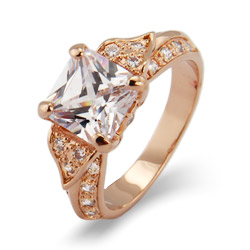 Deco Style Rose Gold Princess Cut CZ Engagement Ring