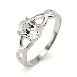 Sterling Silver Infinity Design Oval Cut CZ Promise Ring