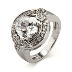Diamond CZ Oval Cut Halo Ring in Sterling Silver