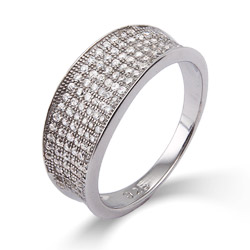 Glistening Diamond Micropave CZ Sterling Silver Band