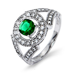 Emerald Green Brilliant Cut Deco Style CZ Sterling Silver Ring