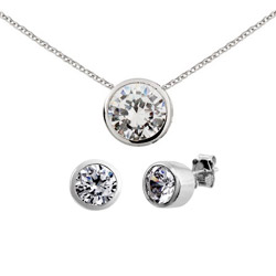 Tiffany Inspired Sterling Silver Bezel Set CZ Earrings and Necklace Set