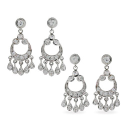 Mena Suvari Inspired Sterling Silver Diamond CZ Chandelier Earrings- 2 Pair Special!