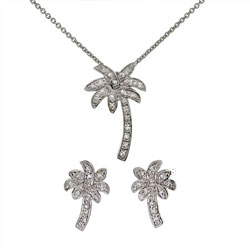 Tiffany Inspired Cubic Zirconia Palm Tree Necklace and Stud Earring Set
