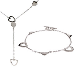Heart Link Lariat Necklace and Bracelet Set