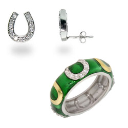 CZ Horseshoe Ring and Earring Set