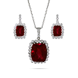 Radiant Ruby Necklace and Earring Set with Vintage Bezel CZs