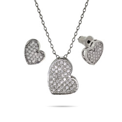 Sparkling Micropave CZ Heart Necklace and Earring Set