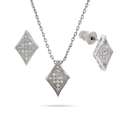 Petite Sparkling Micropave Diamond Earring and Pendant Set