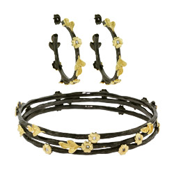 Golden Nature Earring and Bracelet Set