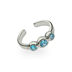 Blue Topaz Cubic Zirconia Sterling Silver Toe Ring