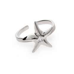 Sterling Silver CZ Starfish Toe Ring