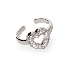 Sterling Silver Open Heart CZ Toe Ring