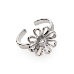 CZ Daisy Sterling Silver Toe Ring