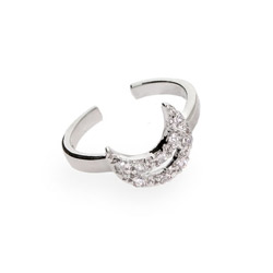 Dazzling CZ Moon Silver Toe Ring