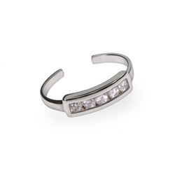 Five Stone CZ Sterling Silver Toe Ring