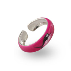 Pink Enamel Nautical Sterling Silver Toe Ring
