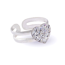 Sparkling Swarovski Crystal Sterling Silver Heart Toe Ring